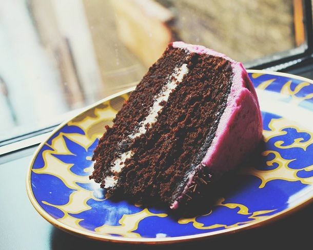 Chocolate beet cake with pink vanilla buttercream frosting (can be ...