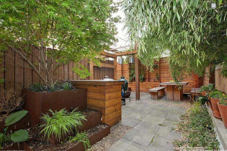 Townhouse Backyard Fence : Brooklyn Townhouse Garden  great planters and fence