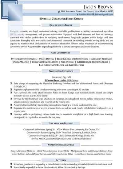 resume sample for law enforcement position