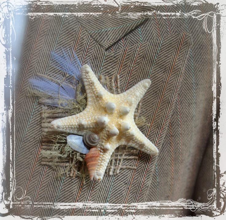 Beachcomber Boutonniere - Sea Weddings - Coastal Wedding - Starfish Feather Seashells - Groom Groomsmen - Natural - Destination Beach. $15.00, via Etsy.