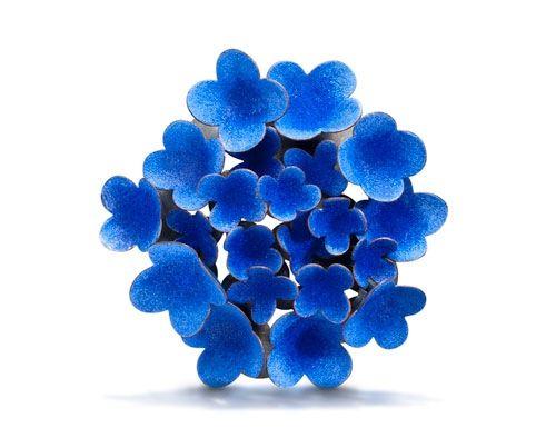 Wendy McAllister Brooch: Blue Hydra Vitreous enamel, copper, sterling silver 9.5 x 9.5 x 3.2 cm