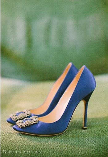 Blue Blahniks with a hint of bling? We're in! | see more @Dennis Kashkin