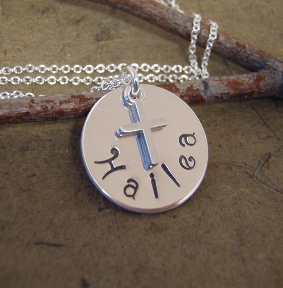 Child s name necklace with cross first by filigreepheasant 30 00