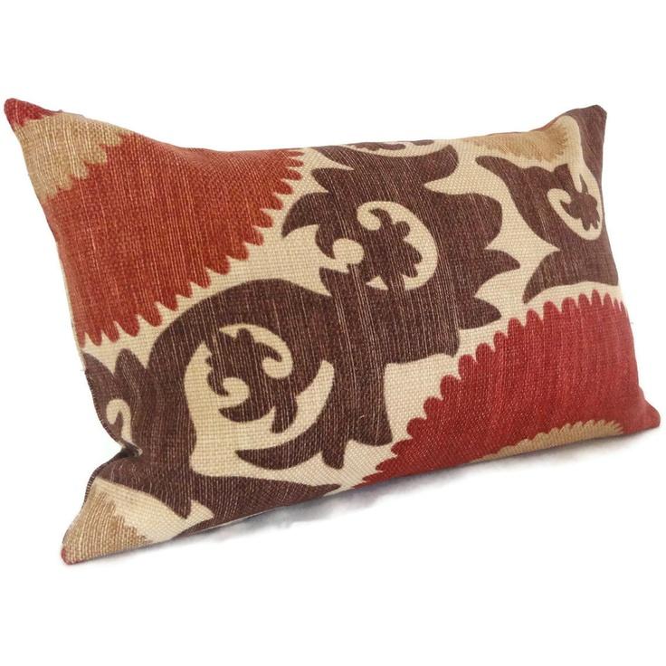 fahri clove red suzani decorative pillow cover lumbar pillow 12x18