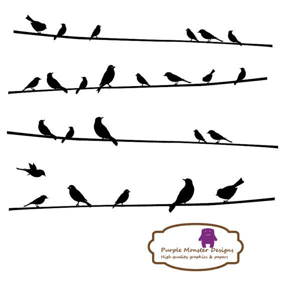 birds on a wire clip arts