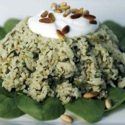... spinach and rice casserole flavored with cilantro pesto. #Lebanese #
