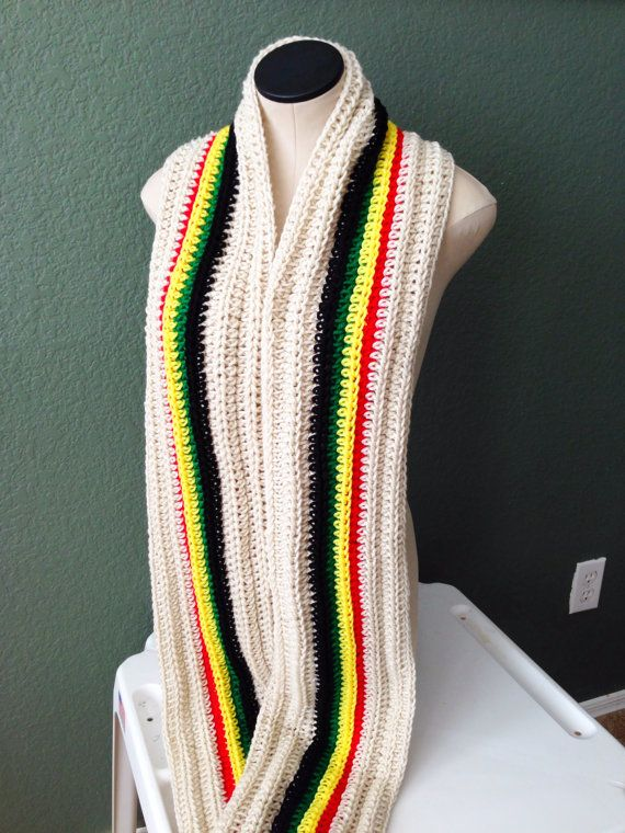 READY TO SHIP. Extra Long Crochet Rasta Scarf. Pan by Africancrab, $38