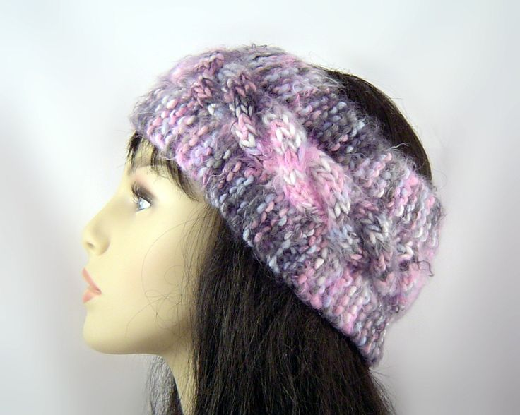 Free Knitted Ear Warmer Pattern : Headband Ear Warmer Wool Knitted in Cable Stitch