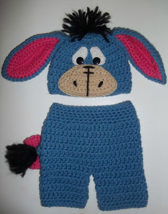Custom crochet Eeyore hat beanie and diaper cover shorts ...