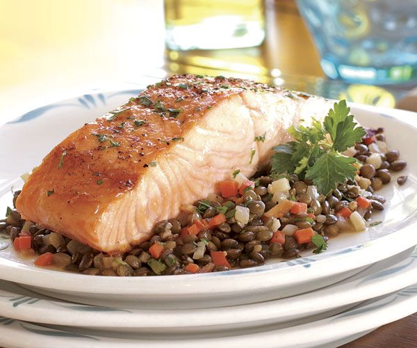 Broiled Salmon with a Ragoût of Lentils & Root Vegetables | Recipe