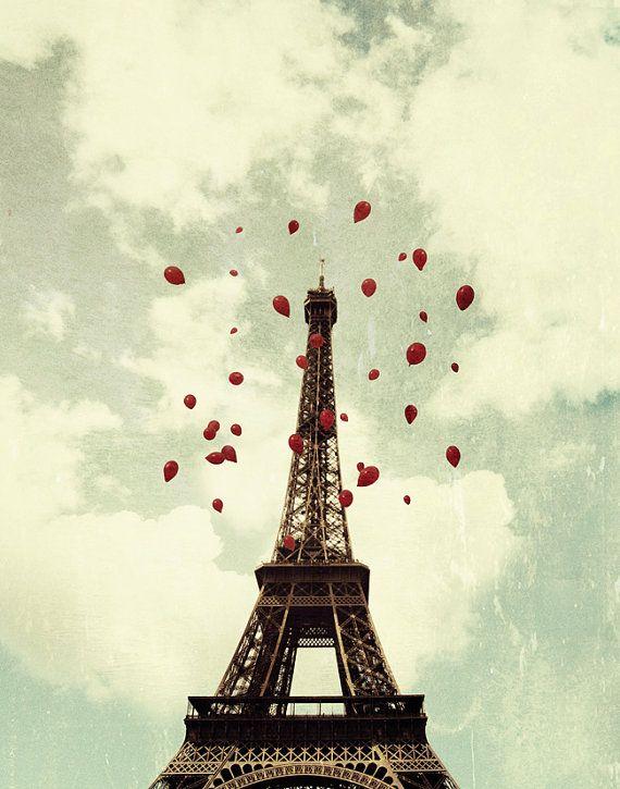 Paris photography eiffel tower balloons france holiday decor f
