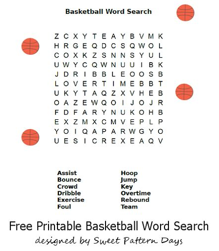Basketball Word Search Printable | classroom ideas | Pinterest