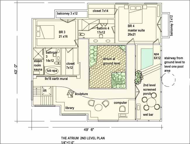 floor plan with atrium architectural drawings amp models