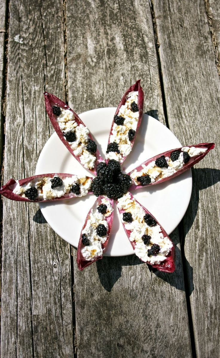 Blackberry Endive Appetizer.... filled with fresh ricotta cheese ...