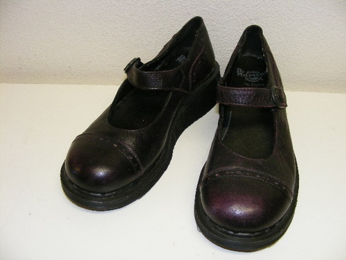 Dr Doc Martens Mary Jane England Purple Leather Spectator Shoes Womens