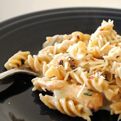 Crockpot Italian Chicken: 4 chicken breasts, 1 packet Zesty Italian dressing seasoning, 1 8 oz. cream cheese (softened), 2 cans cream of chicken soup; Cook on low for 4 hours. If sauce is too thick, add a little milk. Serve over pasta. Wowzers!