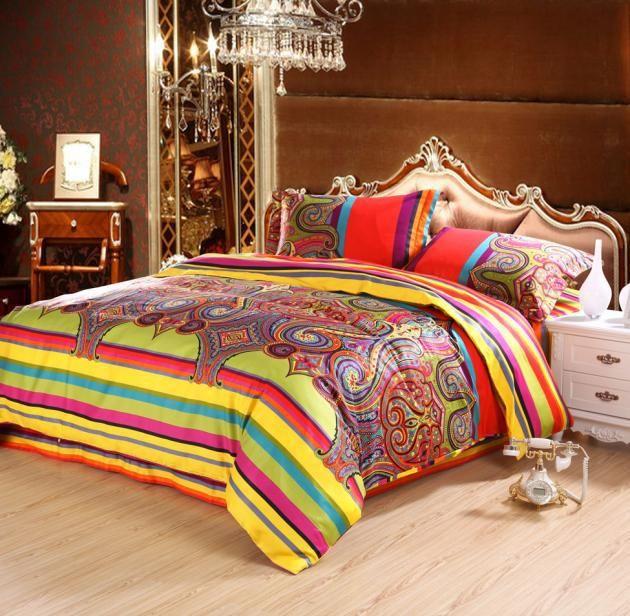 Designer comforters and bedding /Satin Jacquard Silk Bedding sets Flat ...