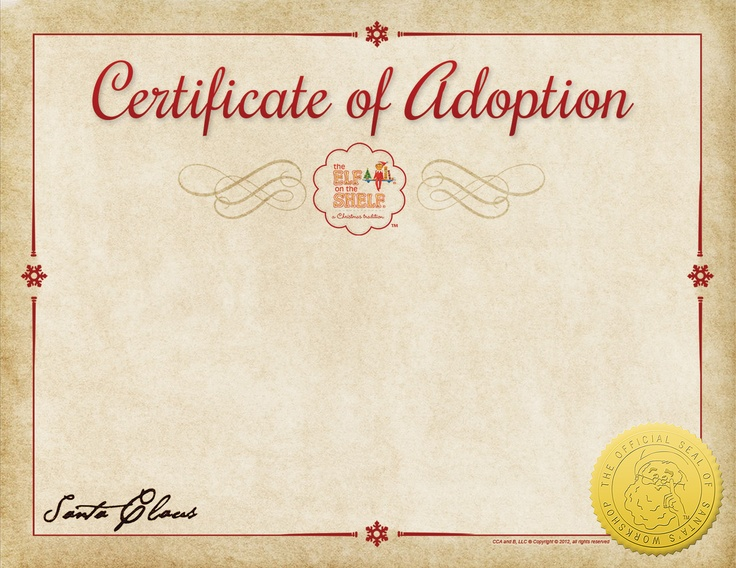 Pin by edie cournoyer on christmas pinterest for Elf adoption certificate
