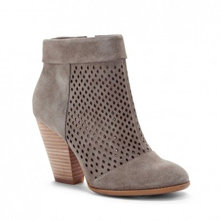 Women's Light Luggage Suede 3 1/4 Inch Perforated Suede Ankle Bootie | Sidney by Sole Society