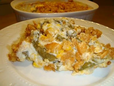Green Bean Casserole with corn and water chestnuts for crunch