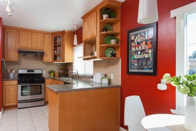Red wall in kitchen  Kitchen ideas  Pinterest