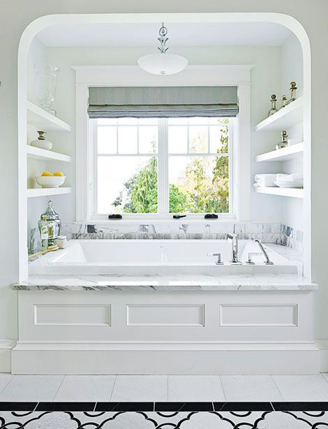Built In Tub Surround Shelving Inside Pinterest