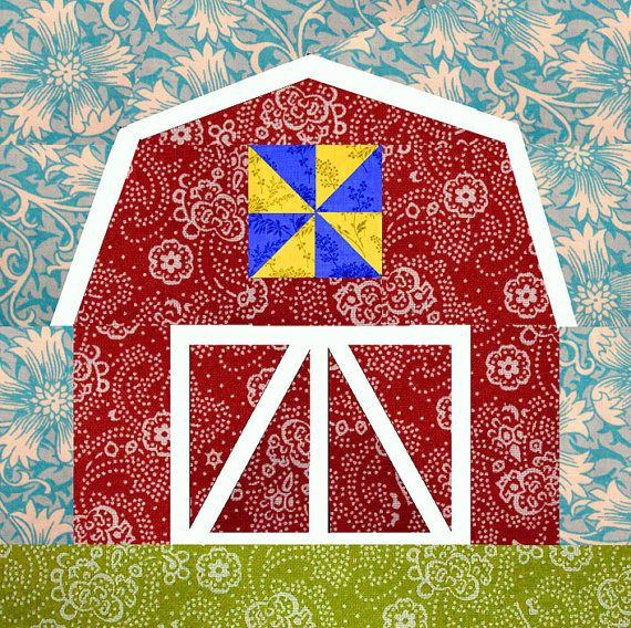 Quilting Designs On Paper : Barn paper pieced quilt block pattern PDF