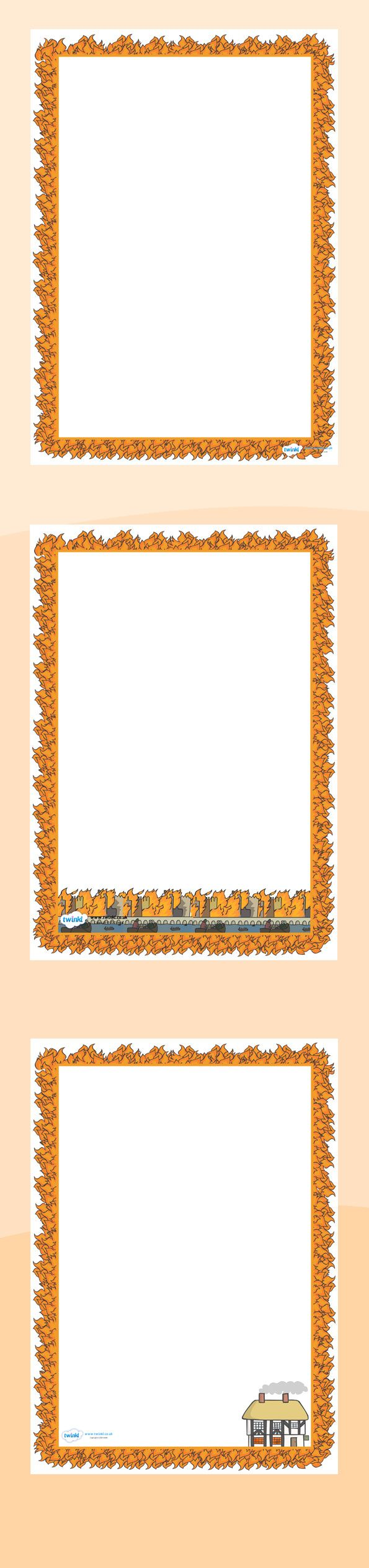 Page Borders Twinkl resources >> the great fire of london page borders ...