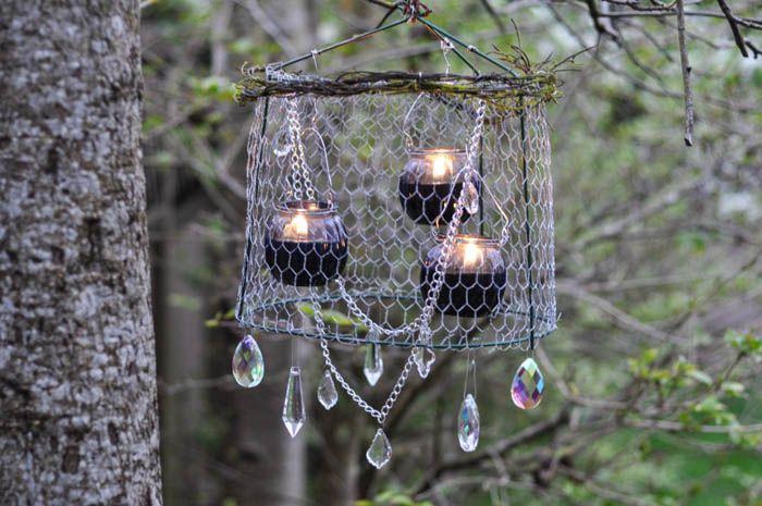 Rustic upcycled outdoor chandelier for Rustic outdoor chandelier