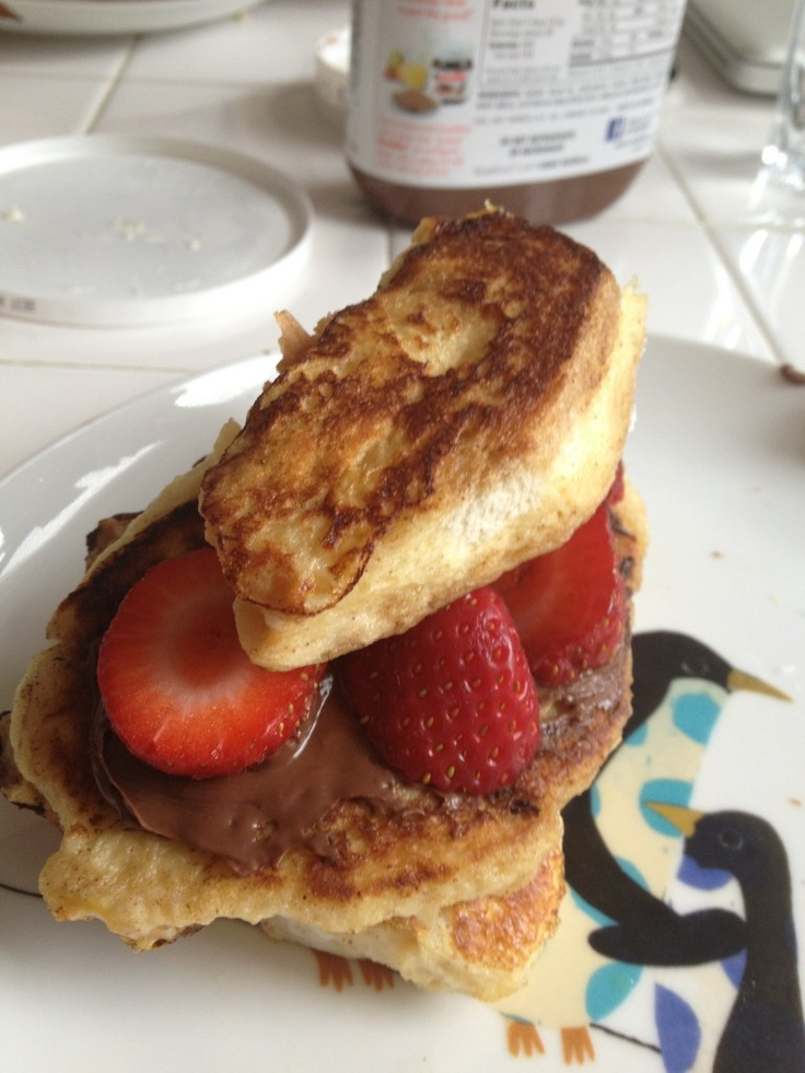 Challah French Toast with Strawberries, Nutella & Marscapone Cheese. # ...
