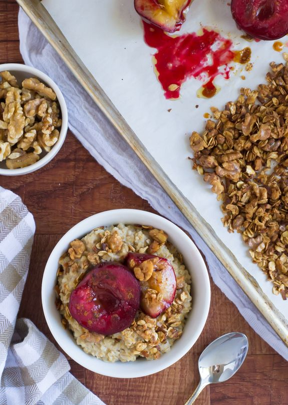 Roasted Plum Crunch Oatmeal | The Law Student's Wife
