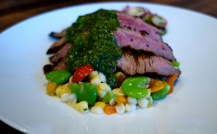 marinated Getaway flank steak on Elmridge farm corn – Norberts fava ...