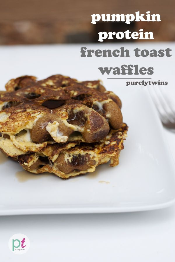 Pumpkin protein french toast waffles. That is a mouthful! Hope they ...