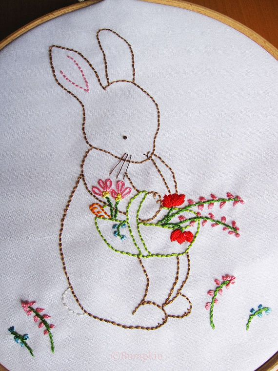 Hand embroidery pdf pattern over the garden gate bunny