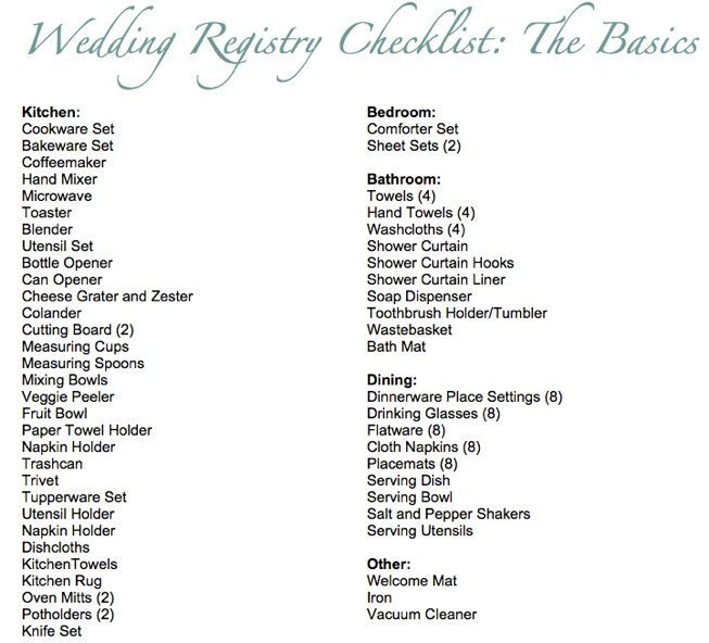 List Of Wedding Gift Ideas : Basic Wedding Registry Checklist...Ill be glad I pinned this some day ...