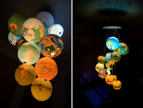 chandelier made out of old globes. Would be great for a kids room! #kidsroomdecor #diychandelier