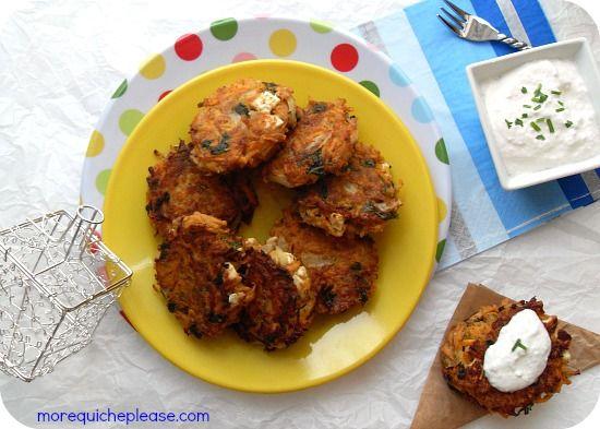 Carrot & feta latkes (no potato!) Adapted from BBC's Good Food Yield ...
