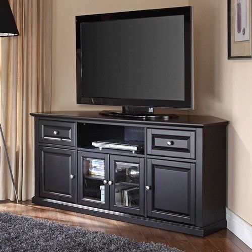 Corner tv stand entertainment media console center cabinet for Corner home theater furniture