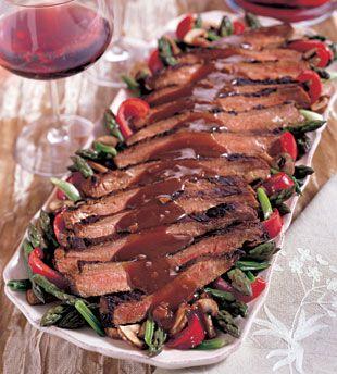 Ginger Flank Steak with Sake-glazed Vegetables   Recipe