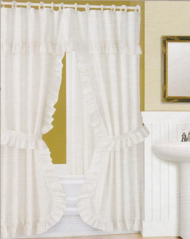 Double Swag Fabric Shower Curtain Attached Valance Vinyl