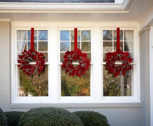 Wreaths At Each Window Christmas Ideas Pinterest