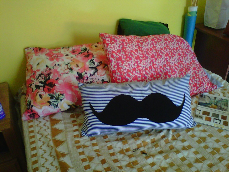 mustache cushion and floral pillow cases #diy