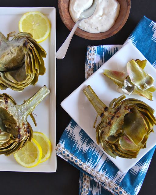 foodie fridays: grilled artichokes with lemon aioli