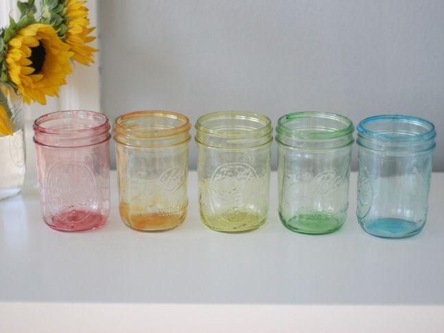 DIY: Tinted Mason Jars in Rainbow. step-by-step