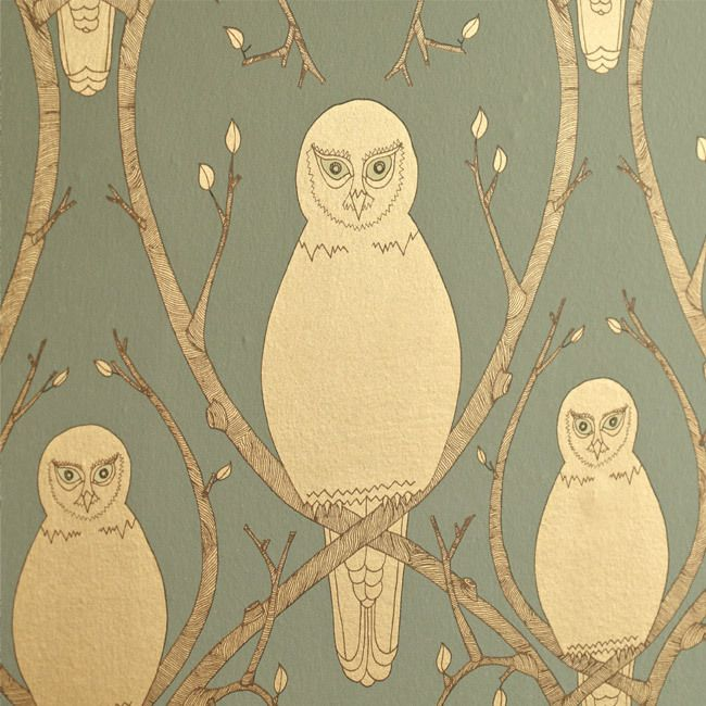metallic owl wallpaper
