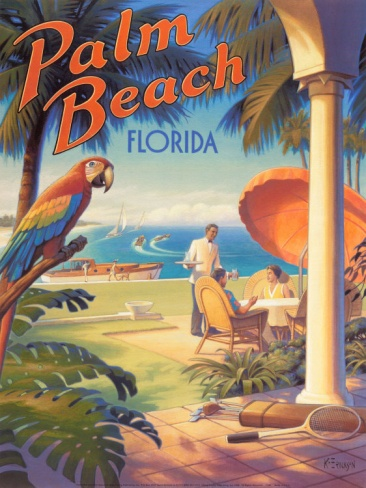 Vintage Travel Poster Wallpaper Palm Beach Florida By Kerne