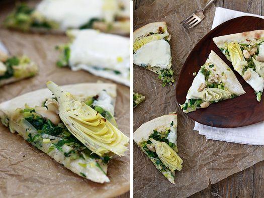 Artichoke Spinach Pizza with White Beans   Recipe