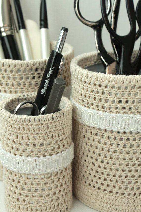 Crochet Pencil Organizer Set ... ok, it's not YARN .... & I pinned it...