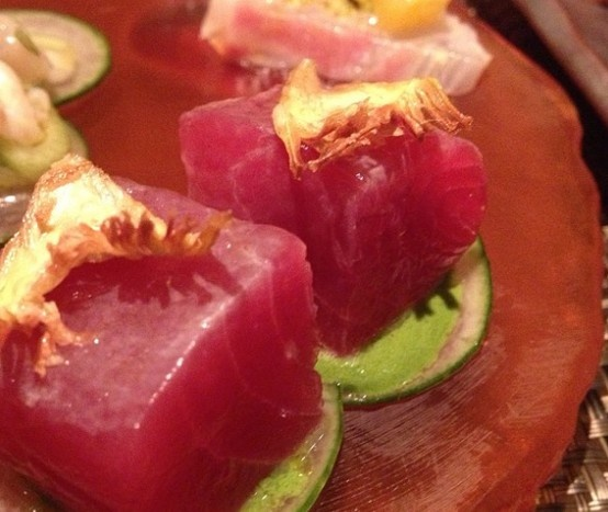 "Tuna, crisp artichoke & oyster ""crema"" at Marea in #NYC"