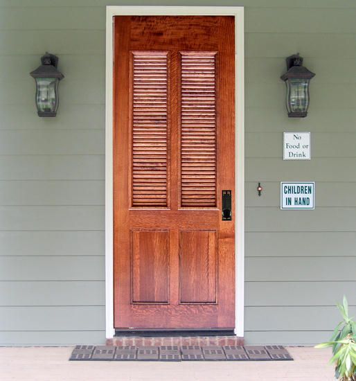 Craftsman exterior wood louvered entry door dbyd 4218 for Louver doors exterior